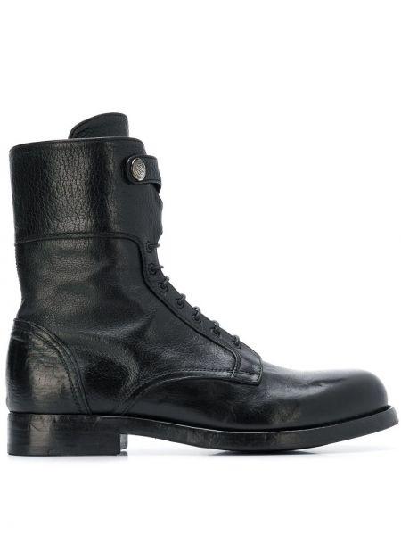 Черные ботинки на каблуке на шнуровке Alberto Fasciani