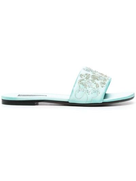 Niebieskie sandały skorzane płaska podeszwa Emilio Pucci