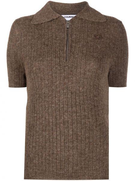 Рубашка с коротким рукавом с воротником с заплатками из альпаки с короткими рукавами Courrèges