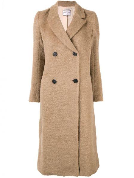 Коричневое пальто классическое из мохера узкого кроя с лацканами Paul & Joe