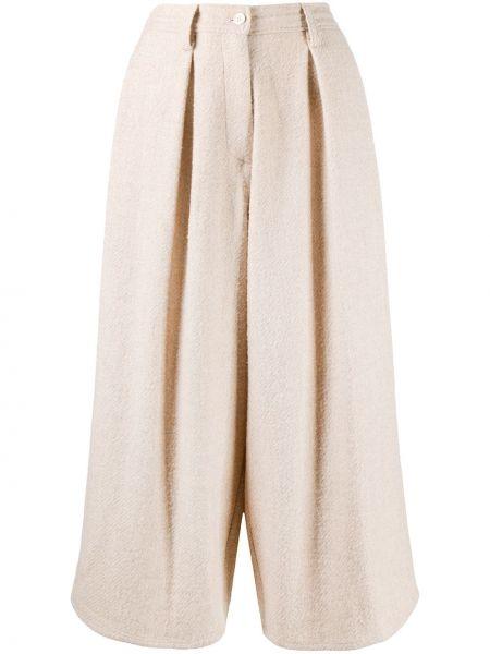 Beżowe spodnie wełniane z paskiem Dusan