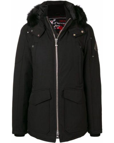 Черное длинное пальто с капюшоном на молнии Moose Knuckles