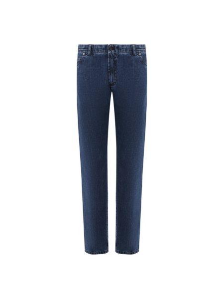Синие прямые джинсы для офиса с жемчугом свободного кроя Brioni