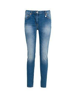 Синие джинсы-скинни с пайетками Blumarine