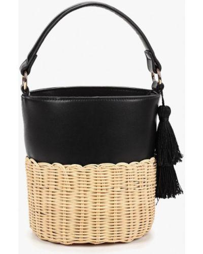 Кожаный сумка соломенная черная Aldo