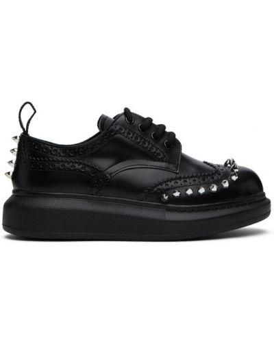 Ażurowy czarny buty brogsy zasznurować okrągły nos Alexander Mcqueen