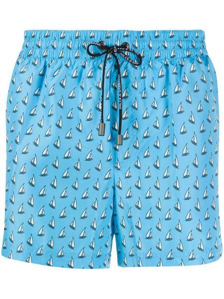 С кулиской синие пляжные пляжные шорты на молнии Dolce & Gabbana