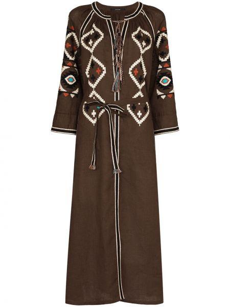 Коричневое платье миди с вышивкой Vita Kin