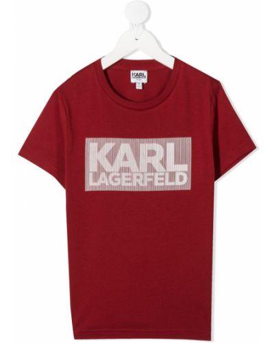 Хлопковая красная футболка с короткими рукавами с круглым вырезом Karl Lagerfeld Kids