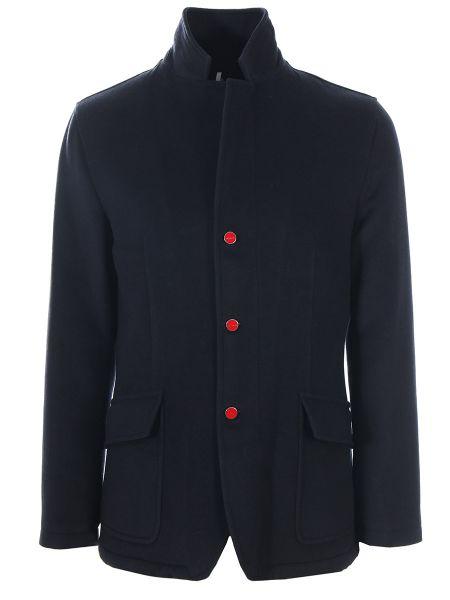 Синее шерстяное пальто классическое с воротником на пуговицах Kiton