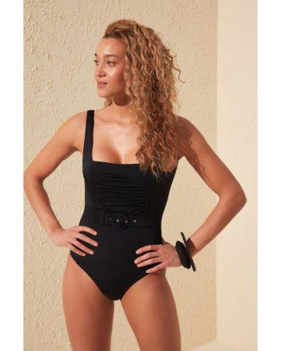 Czarny strój kąpielowy z paskiem z nylonu Trendyol