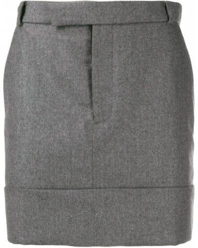 Dopasowywanie wełniany spódnica mini z paskiem Thom Browne