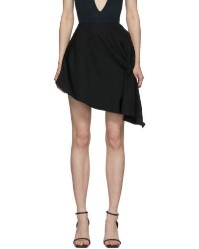 Черная асимметричная юбка мини на резинке Vejas