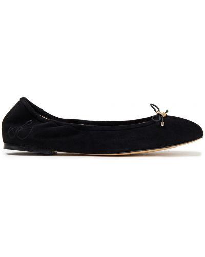 Кожаные черные балетки на каблуке Sam Edelman