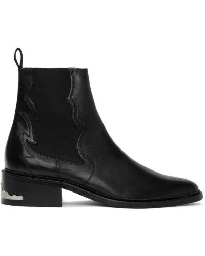 Кожаные черные сапоги с высоким голенищем на каблуке с подкладкой Toga Virilis