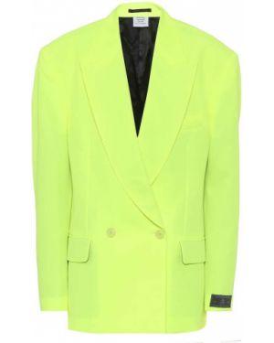 Однобортный желтый пиджак винтажный из габардина Vetements