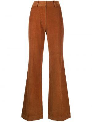 Коричневые расклешенные брюки с карманами с высокой посадкой Victoria Beckham