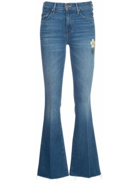 Расклешенные джинсы свободные с вышивкой Mother