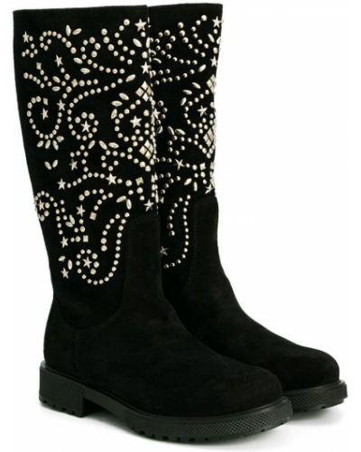Кожаные черные кожаные ботинки с декоративной отделкой Ermanno Scervino Junior