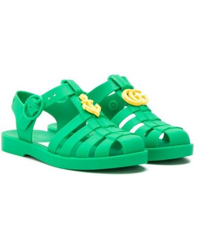 Сандалии зеленый плоский Gucci Kids
