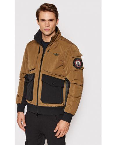 Brązowa kurtka zimowa Aeronautica Militare