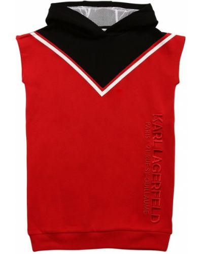 Платье-свитер с вышивкой без рукавов с капюшоном Karl Lagerfeld
