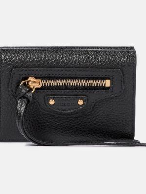 Городской черный кожаный кошелек Balenciaga