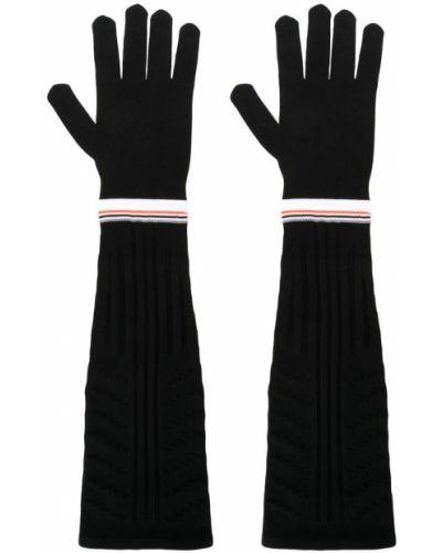Перчатки длинные в полоску черные Prada