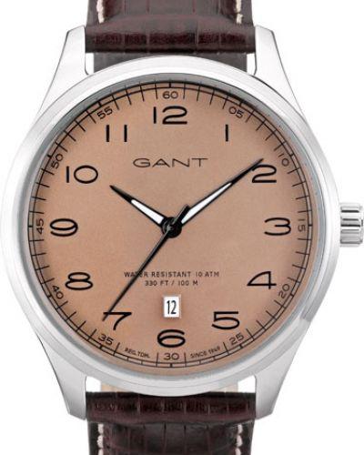 Часы водонепроницаемые с кожаным ремешком бежевые Gant