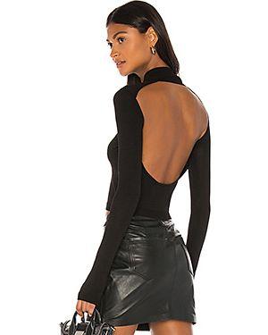 Открытый шелковый черный свитер с открытой спиной H:ours