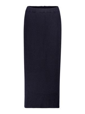 Prążkowana niebieska spódnica midi elegancka Jardin Des Orangers