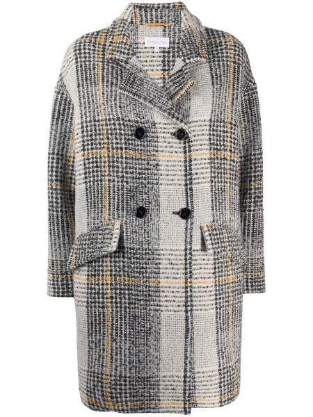 Шерстяное прямое черное длинное пальто на пуговицах Patrizia Pepe