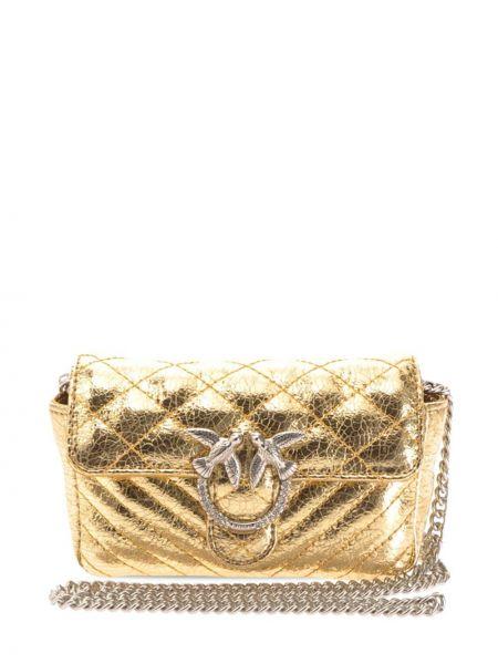 Стеганая кожаная сумка на цепочке с вышивкой Pinko