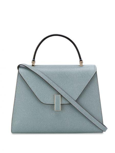 Niebieska torba na ramię skórzana Valextra