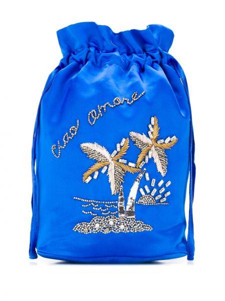 Satynowa niebieska torebka mini z haftem Giada Benincasa