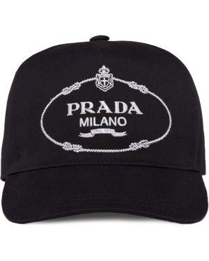 Czarna czapka z haftem bawełniana Prada