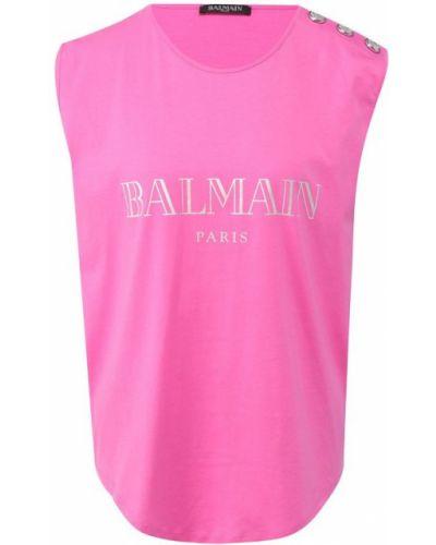Розовый топ с логотипом Balmain