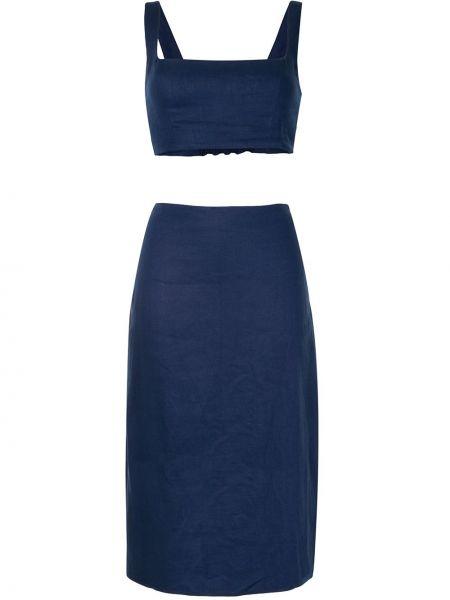 Костюмная синяя юбка мини на молнии с вырезом Reformation