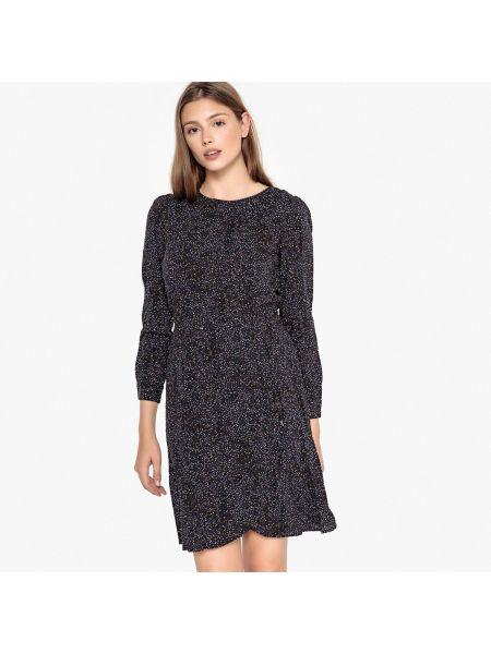 Черное расклешенное платье миди с рисунком с вырезом Best Mountain