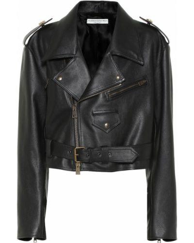 Черная кожаная куртка байкерская Alessandra Rich