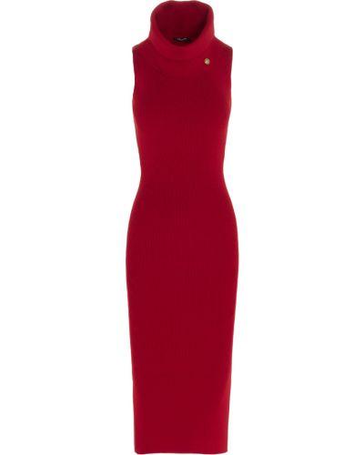 Czerwona sukienka midi elegancka z wiskozy Balmain