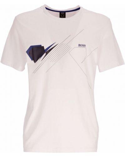 Biała T-shirt z nadrukiem z printem Boss Hugo Boss