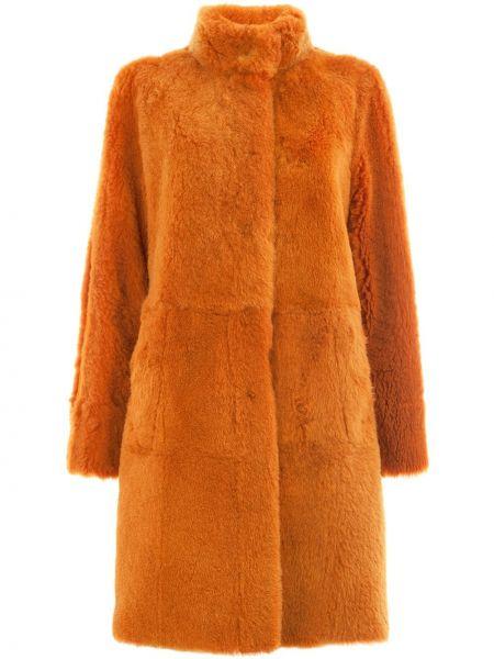 Кожаное пальто без воротника двустороннее Drome