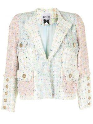 Удлиненный пиджак твидовый с карманами на пуговицах Edward Achour Paris
