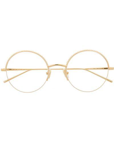 Золотистые желтые очки круглые металлические Boucheron Eyewear