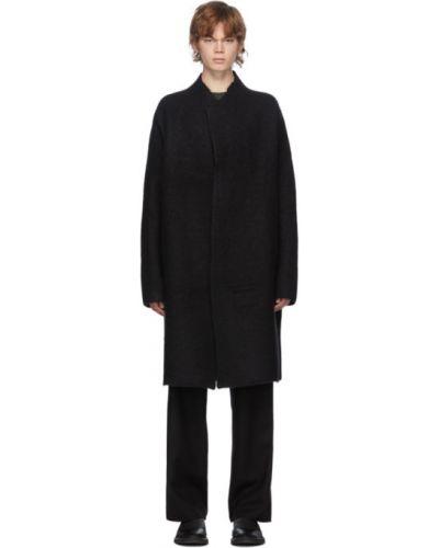 Z kaszmiru czarny długi płaszcz z długimi rękawami Frenckenberger