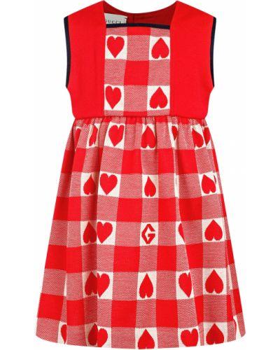 Нарядное красное платье Gucci