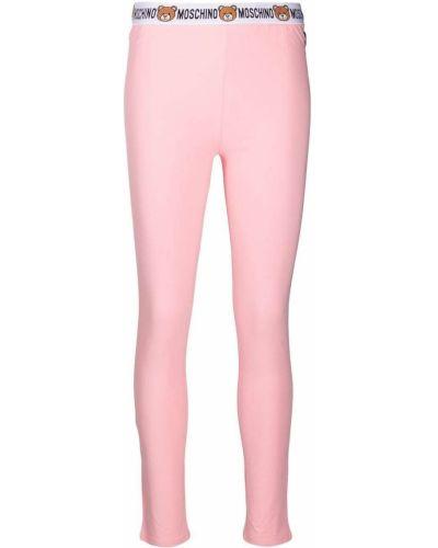 Розовые трикотажные леггинсы стрейч Moschino
