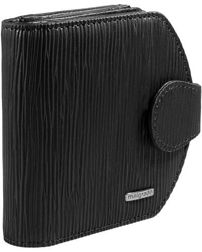 Черный кожаный кошелек Malgrado