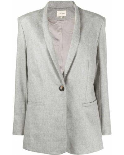Шерстяной однобортный серый удлиненный пиджак Loulou